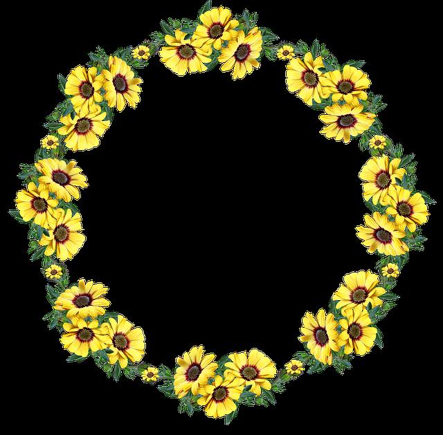 věnec se žlutými květinami